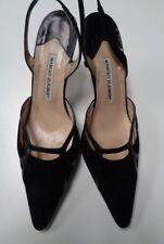 MANOLO BLAHNIK Black Pointed Toe Slingback High Heels Leather Size 40 B3323