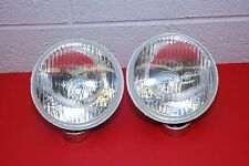"H1 Headlights PAIR 5 3/4"""" Round 143mm Sealed Beam Conversion Kit E-Code Hi Beam"