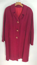 Vintage 60s Long Red Coat Stroock Paris Womens Medium Winter Dress Coat Made Usa