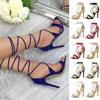 Womens ladies barely there high heel tie up leg ankle sandals strappy shoes size
