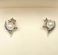MIKIMOTO Silver AKOYA Pearl Earrings Original Box Auth GIFT Japan Rhodium Coat
