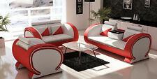 Sofagarnitur Polster Sofa Couch Leder Garnitur Wohnlandschaft 3+2+1 Vigo-K Set