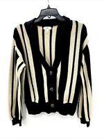 BP Nordstrom Womens Medium Cardigan Black Tan Stripe Button Up Long Sleeve NWOT