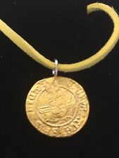 """Henry VIII Half Angel Coin WC47 Gold English Pewter On 18"""" Yellow Cord Necklace"""