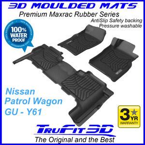 Fit Nissan Patrol GU Y61 1998 - 2015 3D Maxtrac F & R Black Rubber Floor Mats