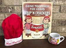 Vintage Campbell Soup Tin Sign~Soup Cup Bowl~Chef's Hat M'm! M'm! Good!