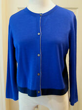 NWOT LIDA BADAY royal & navy blue merino wool cashmere cardigan cropped XL 8 10