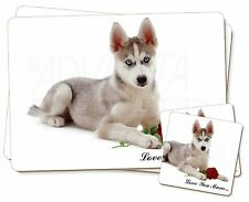 Husky with Red Rose 'Love You Mum' Twin 2x Placemats+2x Coasters S, AD-H54RlymPC