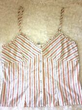 HALTER TOP MENSWEAR INSPIRED STRIPES CASUAL CORSET BUSTIER WESTERN SNAP Boho M