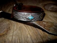 Mens Supple Leather Cuff Bracelet * Robins Egg Blue Turquoise Stone *