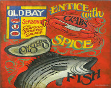 Old Bay seafood Print art decor  vintage look  chesapeake bay spice crab fish md