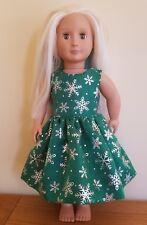 Notre génération doll clothes custom made Vert Paillettes Flocon de neige robe de Noël