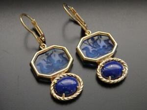 TAGLIAMONTE Earrings YGP/SS baby blue Venetian glass Intaglio+Lapis leverbacks