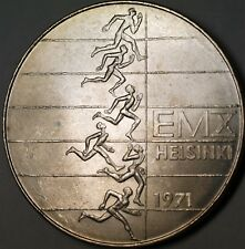 1971 Finland 10 Markka Silver Brilliant Unirculated Runners Helsinki Coin