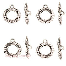 Wholesale 6 Sets Flower Toggle Clasps  Tibetan Silver Color Jewelry Findings