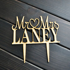 Rustic Wedding Cake Topper - Personalized Cake Topper - Mr and Mrs - Cake Decor
