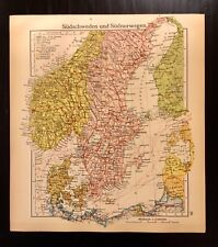 Vintage 1928 Map of South Sweden Norway Leaf from Westermann Colorful Vibrant VG