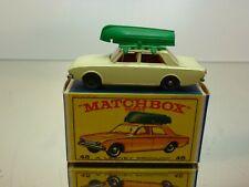LESNEY MATCHBOX 45 FORD CORSAIR + BOAT - CREAM GREY WHEELS - VERY GOOD IN BOX