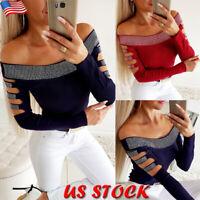 Women Off Shoulder Rhinestone T Shirt Ladies Hollow Long Sleeve Blouse Slim Tops