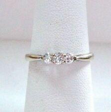 Delicate 14K White Gold 3-Stone Diamond Engagement Ring size 6.25 women 0.30 tcw
