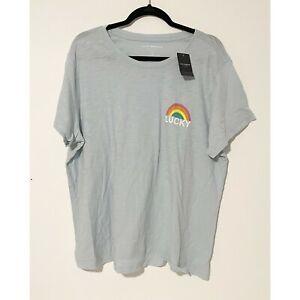 Lucky Brand Women's Light Blue Rainbow Short Sleeve  T-Shirt Size 2X New