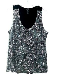 INC Woman Plus Size 2X Champagne Sequin Black Dressy Blouse Sleeveless Top