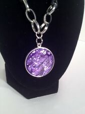 """NWT Ling Purple Glass Pendant on Cord Chain 10"""""""