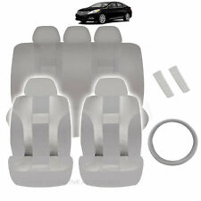 NEW ALL GRAY POLYESTER SEAT COVERS & STEERING COMBO 12PC SET FOR CARS 2322