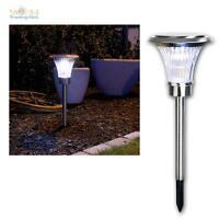 große LED Solar Leuchte 62cm, Edelstahl, 13 LEDs warmweiß SUPERHELL, Gartenlampe