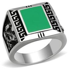 GIFTS FOR MEN Size 13 Z Stainless Steel with Emerald Tone Epoxy Stone Mens Ring