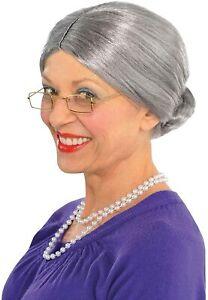 Old Lady Grey Bun Wig Womens Gangster Granny Fancy Dress Costume Accessory