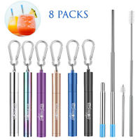 8Pack Reusable Metal Straw Collapsible Telescopic Stainless Steel Drinking Straw