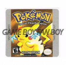 Pokemon Yellow Pikachu Gameboy Replacement Label Sticker Precut Glossy USA decal