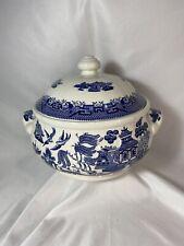Churchill BLUE WILLOW  Casserole Soup Tureen Fine English Tableware w Handles