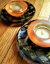 Set of Candle Holders Glass Japanese Black Gold 3 Inches