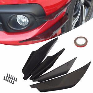 4x Car Black ABS Front Bumper Canards Splitter Fins Body Spoiler Universal