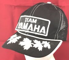 Vtg Team Yamaha Snapback Hat Embroidered Patch Cap Motor Racing 80s Motorcycle