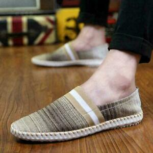 Fashion round toe Mens Driving Slip-On Comfort Loafers Canva Breathable Flat New