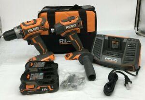 RIDGID R9205 BRUSHLESS 18V CMPCT HAMMER DRILL/DRIVER KIT, VG