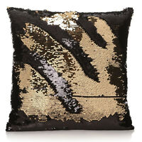 CLEARANCE Gold Reversible Sequin Cover Filled Cushion Pillow Case BARGAIN