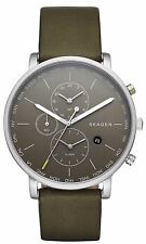 Skagen SKW6298 Men's Hagen OLive Leather Band Grey Dial World Time Alarm Watch