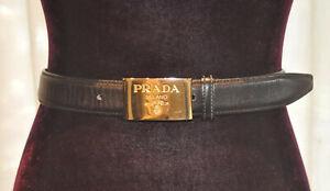 *Prada*Vintage  Black leather belt with gold logo buckle