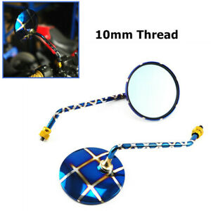 2PCS Motorcycle Burned Blue Titanium Circular Rearview Side Mirror 10mm Thread