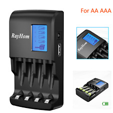 Lcd Aa Aaa Battery Charger +Usb Port for Ni-Mh Rechargeable Batteries Us