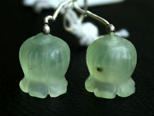 Natural Green Prehnite Carved Flower Briolette Matched Pair Gemstone Beads 53140
