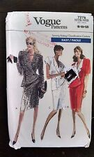 Vtg 80s Vogue Pattern 7278 Career Dress Shoulder Pads Size 8-10-12 Uncut Easy