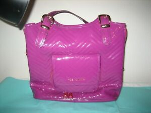 $295 Glossy Patent Leather Ted Baker Purple/Magenta Shoulder Bag Purse-Large