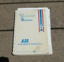 Beechcraft Travel Air Model A36 Bonanza Owner's Manual Instruction Handbook