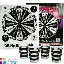 ROULETTE DRINKING GAME 4 SHOT GLASSES ADULT BAR PARTY FUN FRIDAY FRIENDS NEW