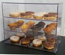 Food Safe Clear Bakery Display Case/Cabinet for Cupcakes Pastries - Three Tiers